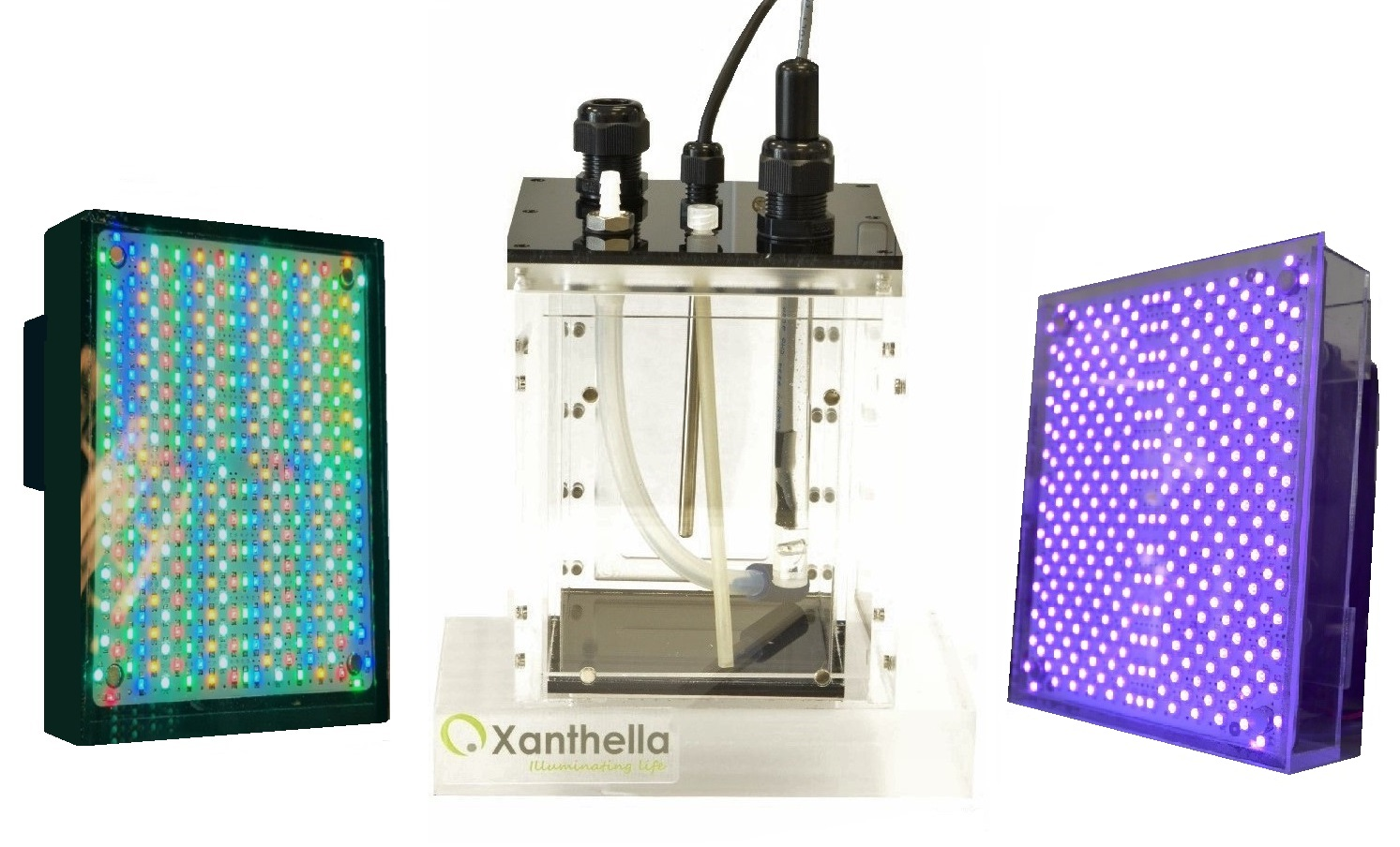 "An empty MicroPharos 1L photobioreactor with two LED light tiles. One is purple and one is a ""rainbow tile""."